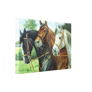 Old German Horse oil Painting portrait from 1924 Gallery Wrapped Canvas
