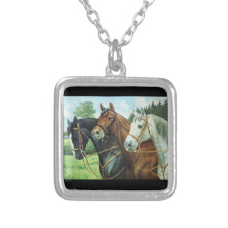 Old German Horse oil Painting portrait from 1924 Square Pendant Necklace
