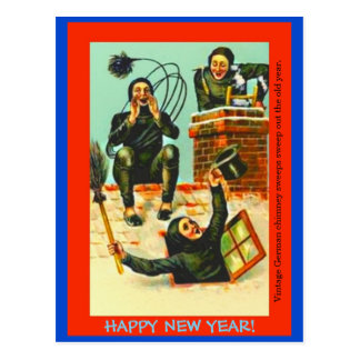 Old German New Year Postcard copy Chimney Sweeps