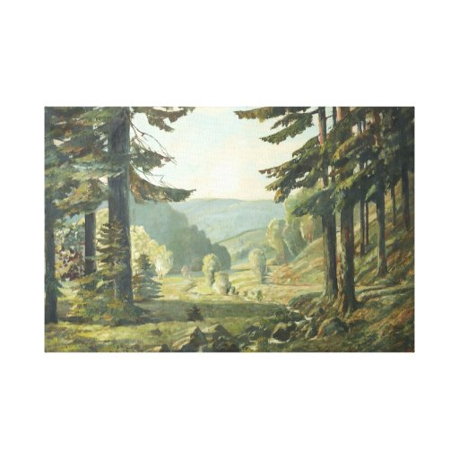 Old German oil Painting - Forest Erzgebirge 1905 Stretched Canvas Prints