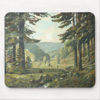 Old German oil Painting - Forest Erzgebirge 1905 Mouse Pad