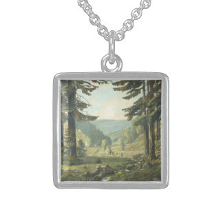 Old German oil Painting - Forest Erzgebirge 1905 Square Pendant Necklace