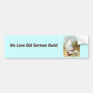 Old German Owl Standing Tall Car Bumper Sticker
