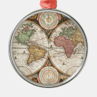 Old global map Silver-Colored round decoration