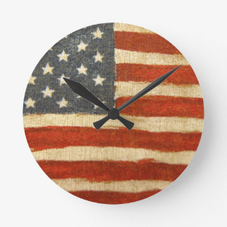 Old Glory American Flag Round Clock