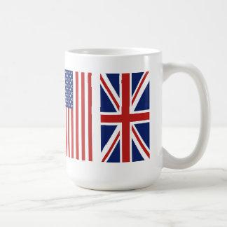 Old Glory and Union Jack Flags. Basic White Mug