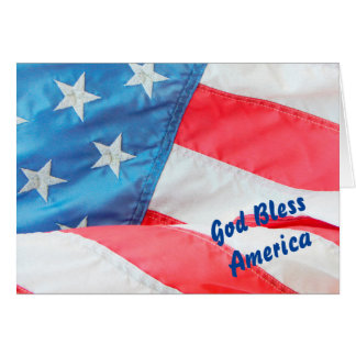 Old Glory God Bless America Card