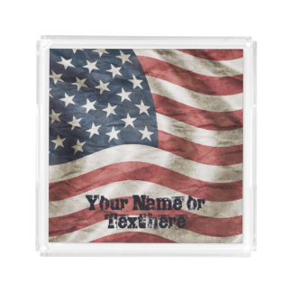 Old Glory US Flag Red, White and Blue Acrylic Tray