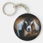 Old Goat Nubian Portrait Photo Basic Round Button Key Ring