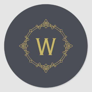 Old Gold and Dark Gray Ornament Monogram Classic Round Sticker