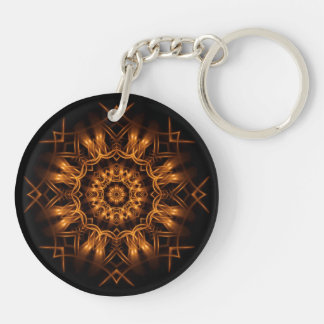 Old Gold Copper Medallion Keychain