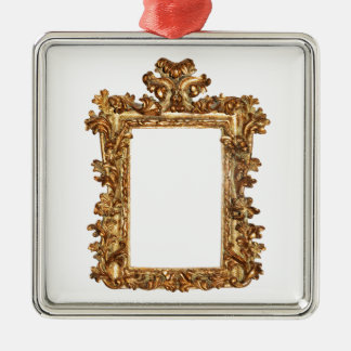 Old gold frame isolates on white christmas ornament