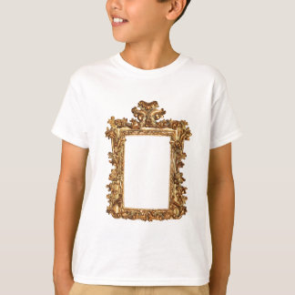 Old gold frame isolates on white T-Shirt