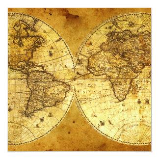 Old Golden World Map 13 Cm X 13 Cm Square Invitation Card