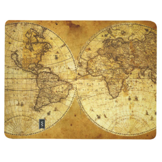 Old Golden World Map Journal