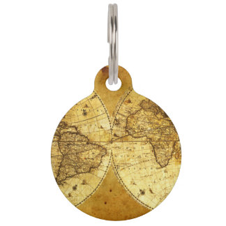 Old Golden World Map Pet Tag