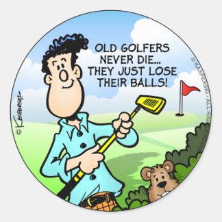 Old Golfer Round Sticker