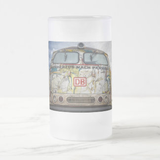 Old graffiti truck frosted glass beer mug