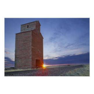 Old granary at Collins Montana at sunrise Poster