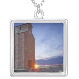 Old granary at Collins Montana at sunrise Silver Plated Necklace
