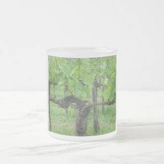 Old grape vine frosted glass coffee mug
