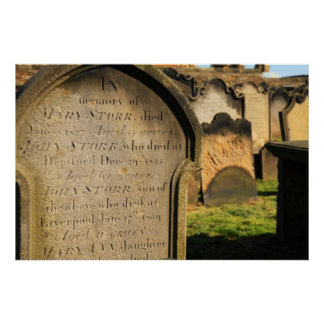 Old Gravestones Cemetery Poster