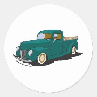 Old Green Truck Classic Round Sticker