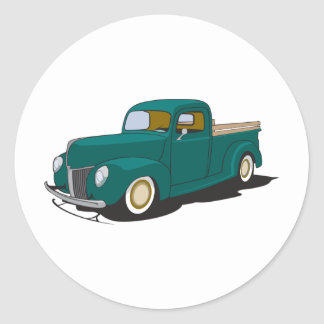 Old Green Truck Round Sticker