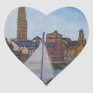 Old Greenock Harbour Heart Sticker