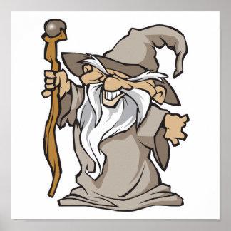old grey wizard sorcerer poster