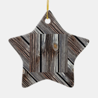 Old grey wooden boards christmas ornament