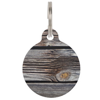 Old grey wooden boards pet ID tag