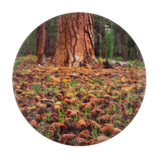 Old-growth Ponderosa tree with pine cones Cutting Board