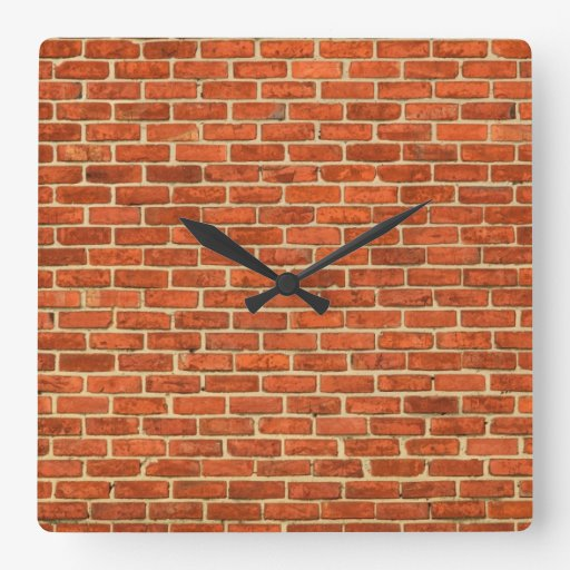 Old Grungy Red Orange Brick Wall Facade Structure Wallclock