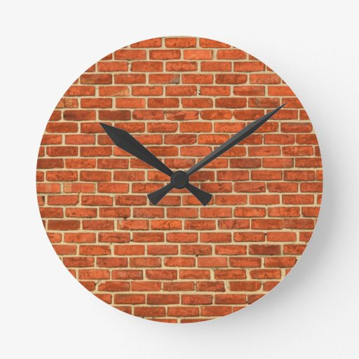 Old Grungy Red Orange Brick Wall Facade Structure Round Wallclocks