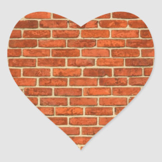 Old Grungy Red Orange Brick Wall Facade Structure Heart Sticker