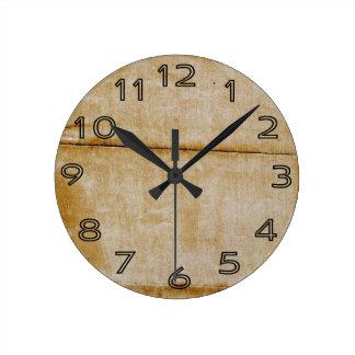 Old Grungy Vintage Paper Background Round Clocks