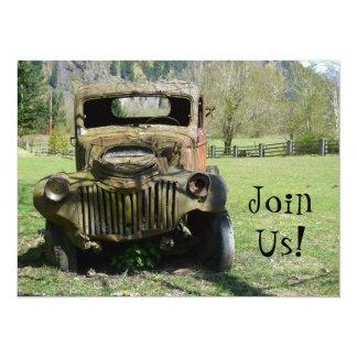 Old Guy Birthday Party - Old Rusty Truck 14 Cm X 19 Cm Invitation Card