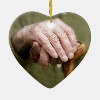 old hands OF A senior lean on walking stick Christmas Ornament