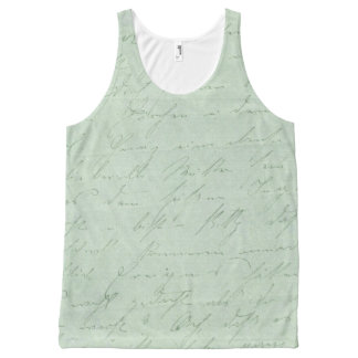 Old handwriting love letters faded antique script All-Over print tank top