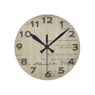 old handwritten ledger wall clock