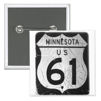 Old Highway 61 sign 15 Cm Square Badge