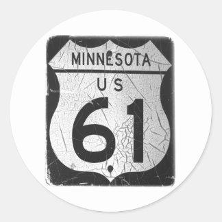 Old Highway 61 sign Round Sticker