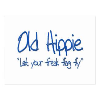 Old Hippie blu Postcard