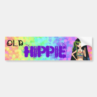 Old Hippie Cute 1960s Psychedelic Big Eye Girl Bumper Sticker