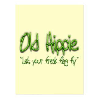 Old Hippie grn Postcard