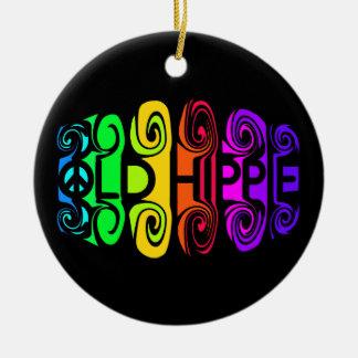 OLD HIPPIE ornament, customize Round Ceramic Decoration