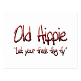 Old Hippie red Postcard
