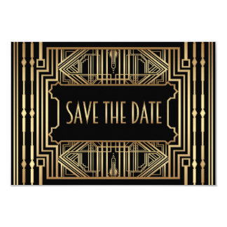 Old Hollywood Gatsby Style Wedding Save the Date 9 Cm X 13 Cm Invitation Card
