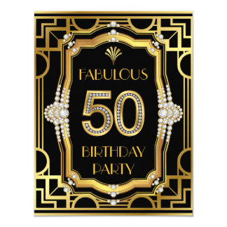 Old Hollywood Glam Art Deco 50th Birthday Party Card